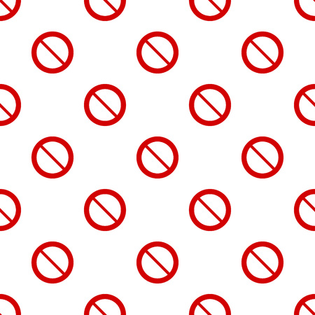 Seamless red stop sign pattern on white background Ilustrace