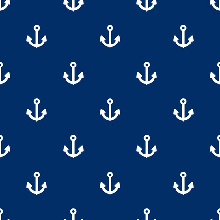 navy blue background: Seamless anchors pattern sign on navy blue background