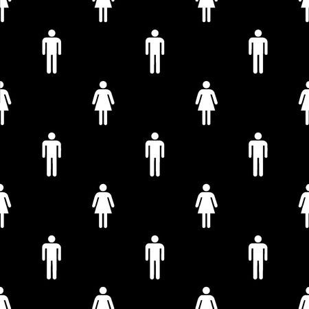 Seamless male and female sign pattern on black background