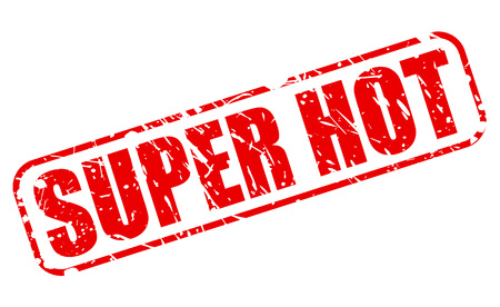 super hot: SUPER HOT red stamp text on white