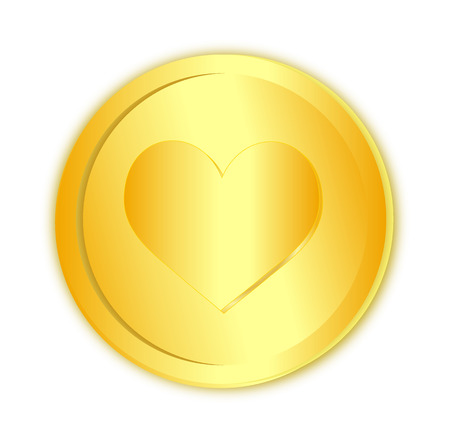 Heart sign in golden coin on white Stock Photo