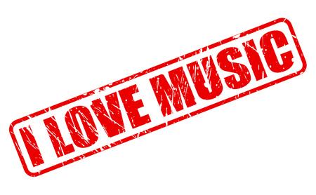 私は音楽の愛赤スタンプ白地のテキスト。  イラスト・ベクター素材