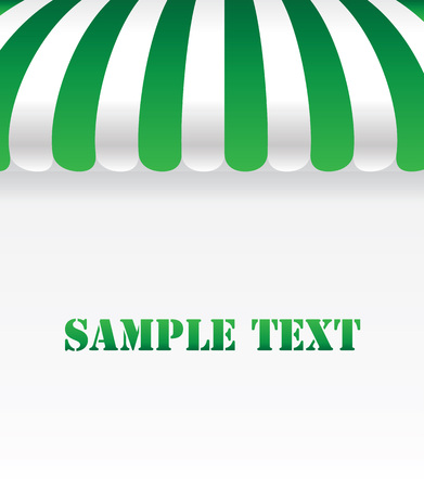Green awning on white background