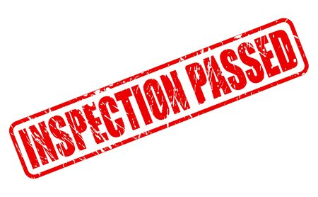 INSPECTION PASSED red stamp text on white background illustration.