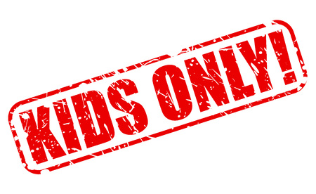 KIDS ONLY red stamp text on white Vectores