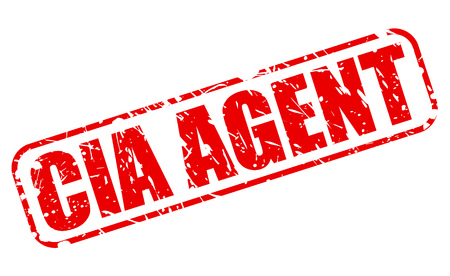 Red CIA agent stamp text on white background.