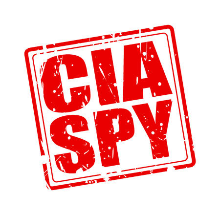 Red CIA spy red stamp text on white background.