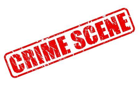 Testo del bollo della SCENA DEL CRIMINE sull'illustrazione bianca del fondo.