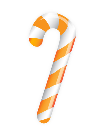Orange candy cane on white background