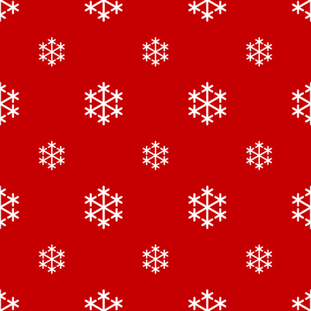 Seamless white snowflake on red background
