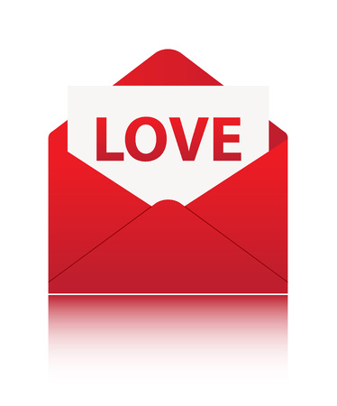 LOVE paper in red envelope on white 向量圖像