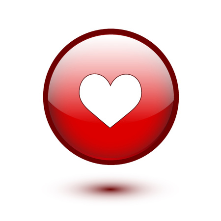 Red glossy heart button on white background