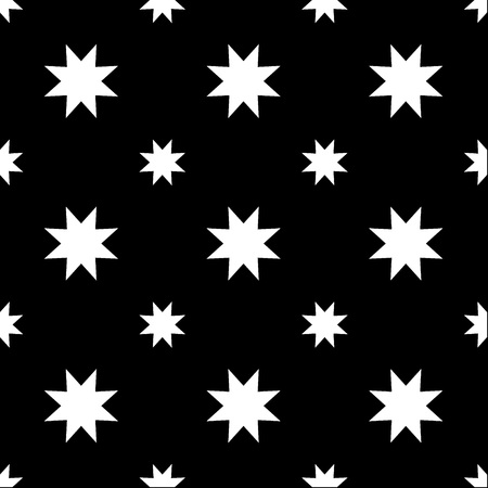 Seamless eight point star on black background