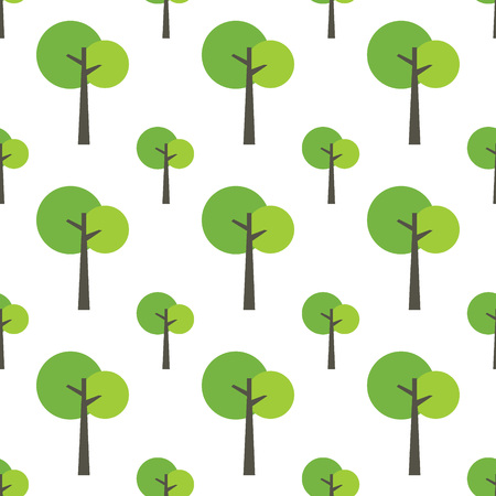 Seamless tree pattern on white background