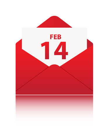 14 FEB in red envelope on white