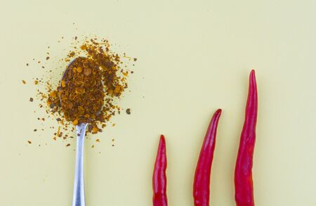 Cayenne pepper spoon with chillies on yellow background 版權商用圖片