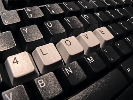 black computer keyboard, with love word photo