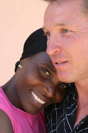 portrait interracial couple, african american, caucasian