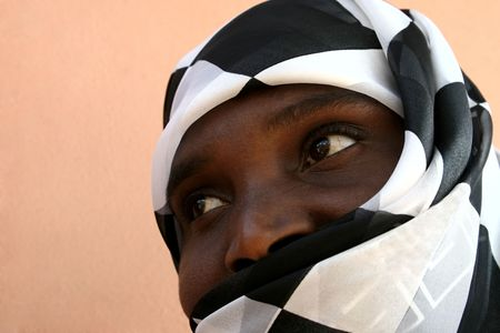 abeautiful african Muslim woman with veil, Zimbabwe photo