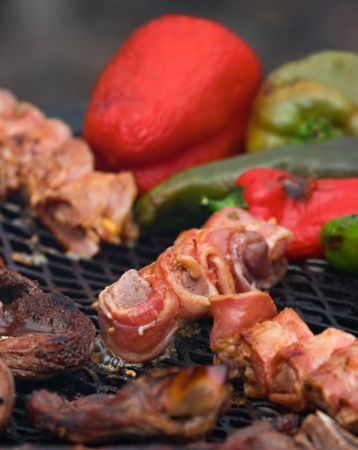 Traditional South African (boer) mixed barbeque different meat peppers.