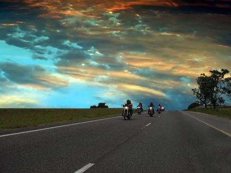 Bikers on the highway, freedom concept