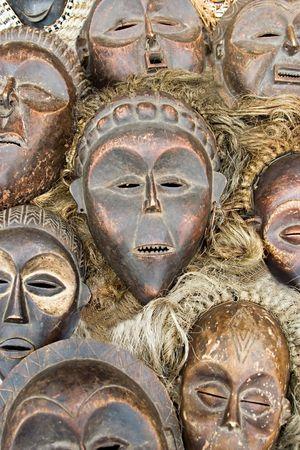 ritual: Vintage African masks, tribal zulu Stock Photo