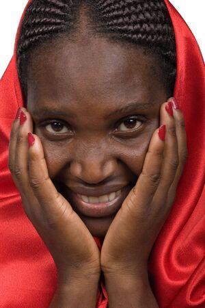 若い女性がアフリカ、ジンバブエ、化粧、笑みを浮かべてください。