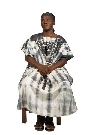 traditional   dress: old African woman with white hair in traditional dress, natural, no makeup Stock Photo