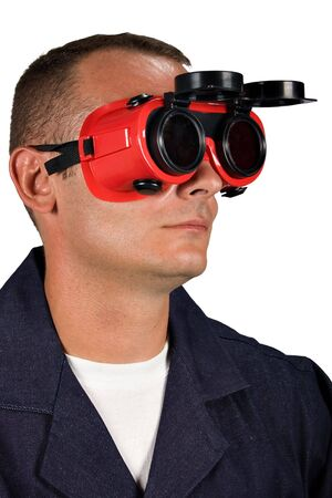 young man with goggles in protective clothing, people diversity series photo