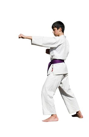 karateka: different kata postures, kicks, isolated, containing clipping paths.