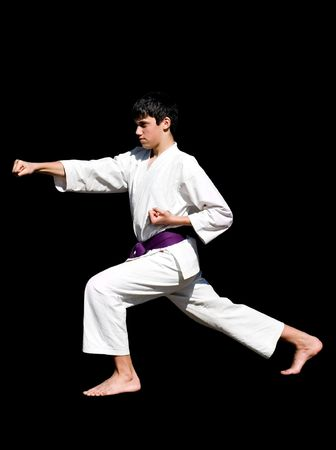 different kata postures, kicks, isolated, containing clipping paths. photo