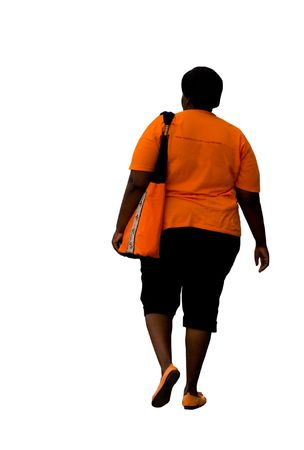 fatness: overweight African American woman, walking, isolated, health series,