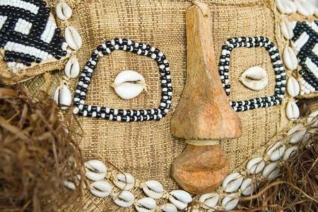 Handmade antique african mask, Ndebele tribe, Bulawayo, Zimbabwe Stock Photo