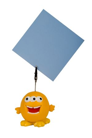 yellow character notes holder, put your advert on the note  photo