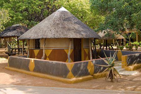 Traditional African house( hut) Bakwena tribe. Southern Africa, Botswana.