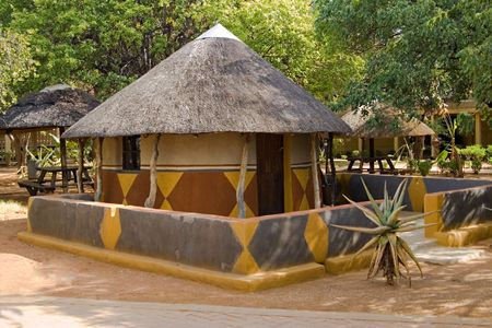 thatched roof: Traditional African house( hut) Bakwena tribe. Southern Africa, Botswana.