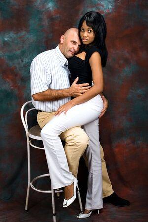 intercultural: African American girl, Caucasian man, interracial couple, social issues series