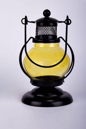 candleholders: candleholders, lantern shape, on grey background, house decoration, romantic Stock Photo