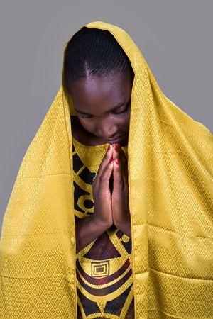 Young woman Zimbabwe, traditional clothing, Christian look photo