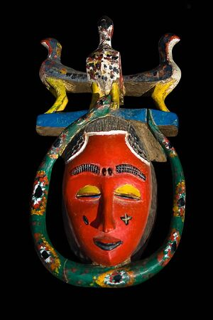 Traditional african mask, handmade from wood, horns,old, african design series photo