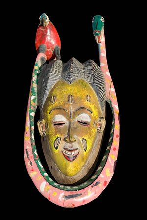 Traditional african mask, handmade from wood, vintage, african design series photo