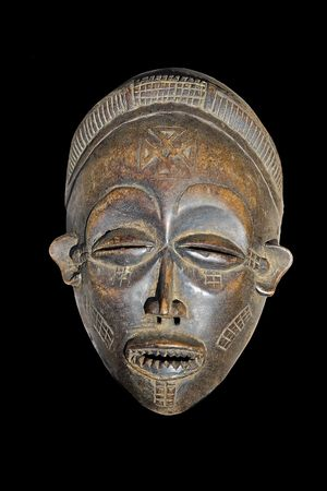 Traditional african mask, handmade from wood, , tribal design series photo
