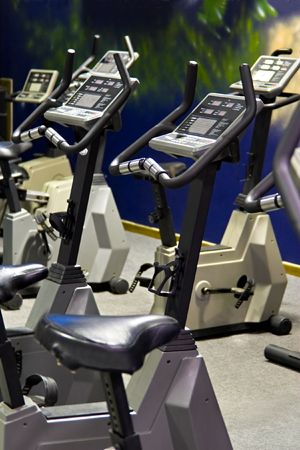 Fitness centre, health bikes, spinning studio. Stock Photo - 1091359