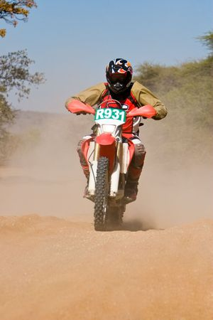 Bike riders in the Botswana Kalahari Desert Race 1000, sport series photo