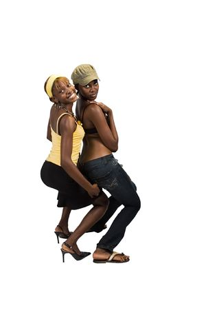 provocative couple: Two young African American girls, we are young beautiful and having fun, people diversity series,