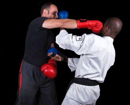 pugilist: Ultimate fighting, extreme sports, kickboxing versus karate, Caucasian and African American .