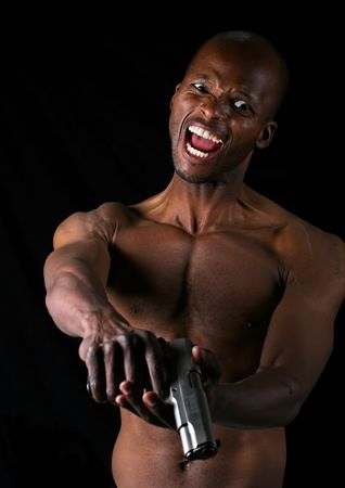pointing gun: Furious armed young muscular african American, social issues series