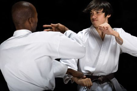 arte marcial: Afroamericanas frente cauc�sico karate lucha (kumite) hayashi ha estilo, cintur�n marr�n y negro, el deporte serie