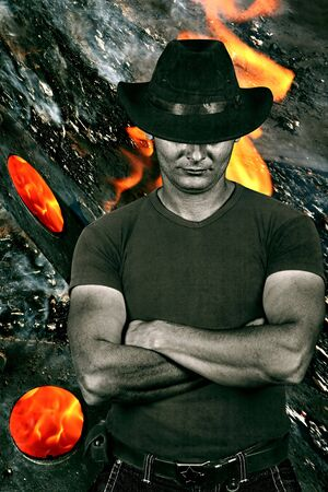 punisher: muscular man, modern cowboy look, burning, wood, fire, ashes. Tint old added, people diversity series.