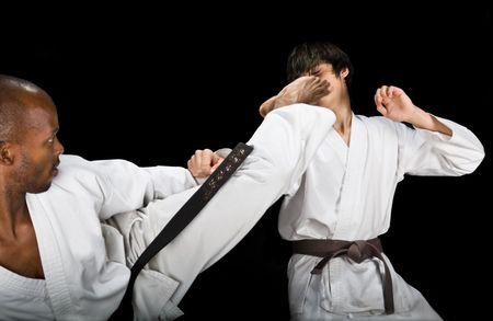 karate fight (kumite) hayashi ha style, African American and Caucasian, sport series photo